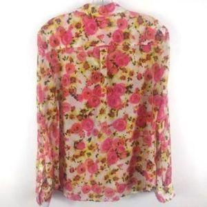 Ann Taylor Tops - Ann Taylor Women's Silk Cotton Blouse Pink Floral